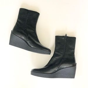 Robert Clergerie Black Wedge Ankle Boots Size 10